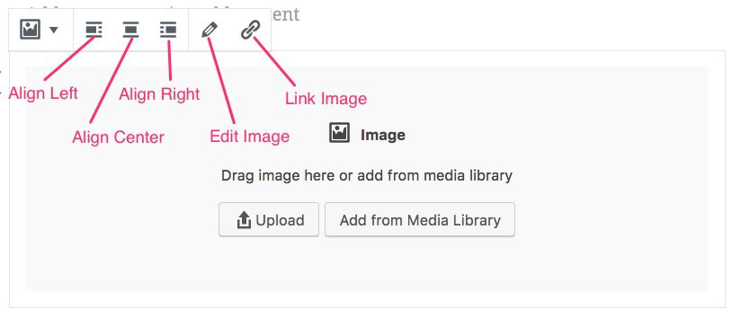 Gutenberg image block editing buttons