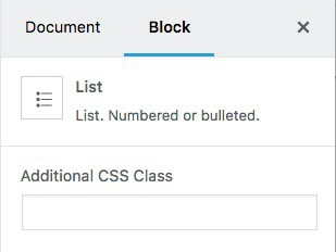 List block advanced settings panel