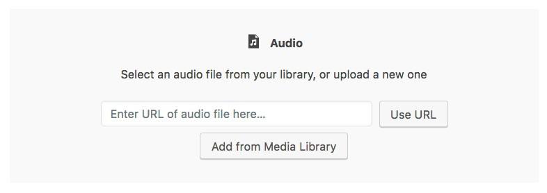 Gutenberg audio block, add a URL