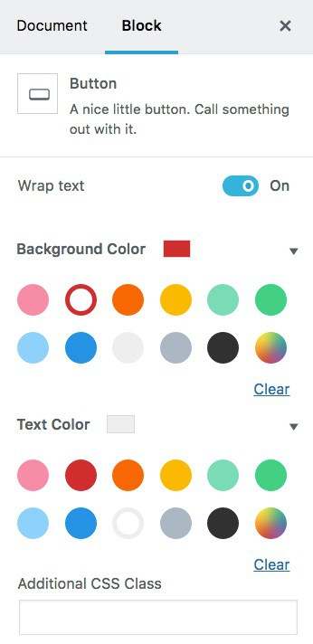 Gutenberg button color options