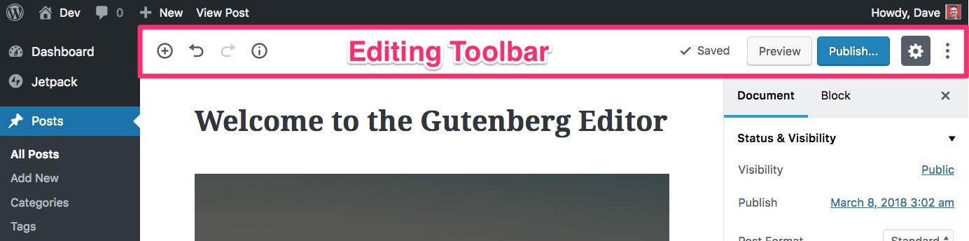 Gutenberg Editing Toolbar