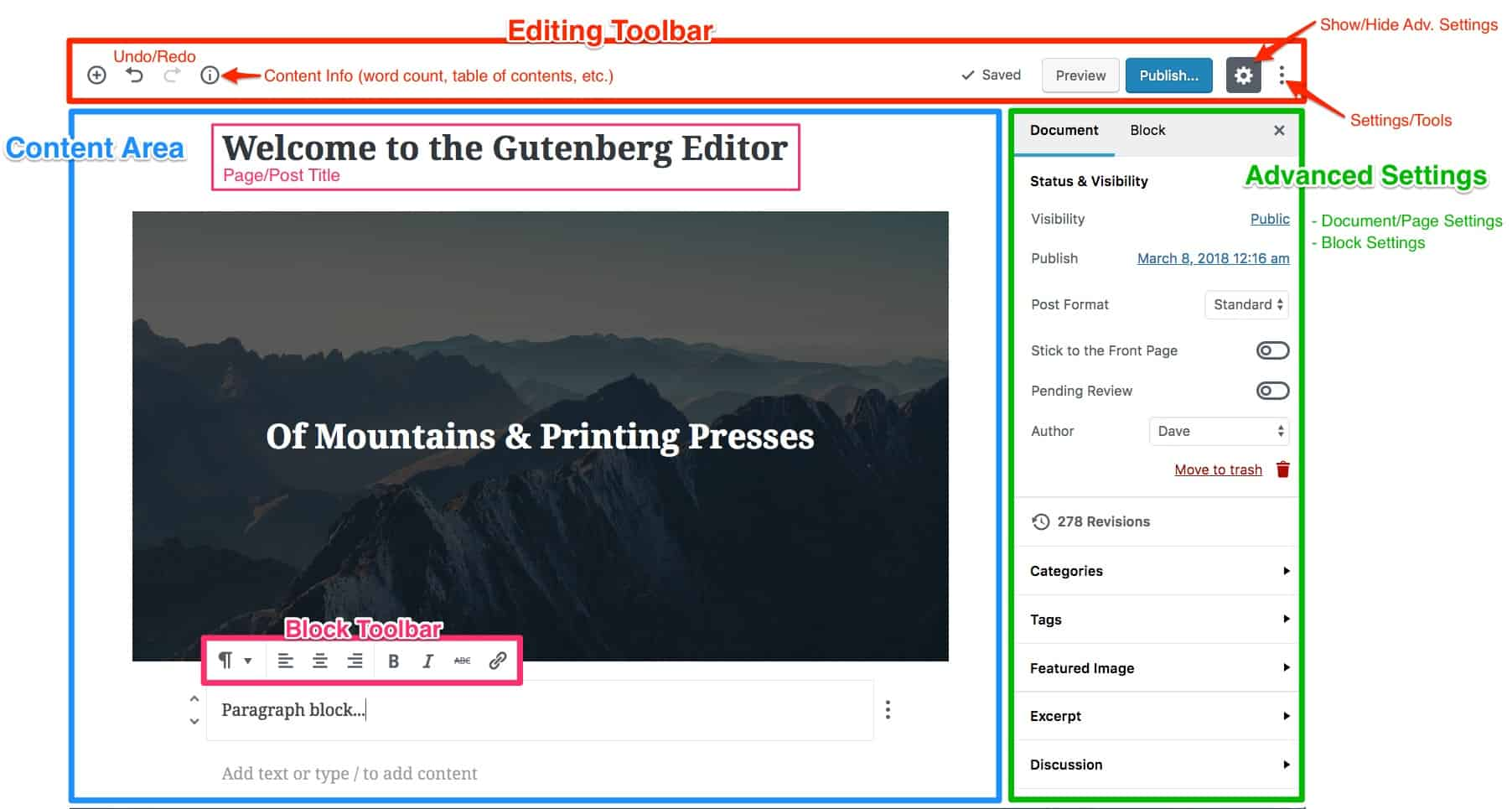 The Gutenberg Interface, main sections