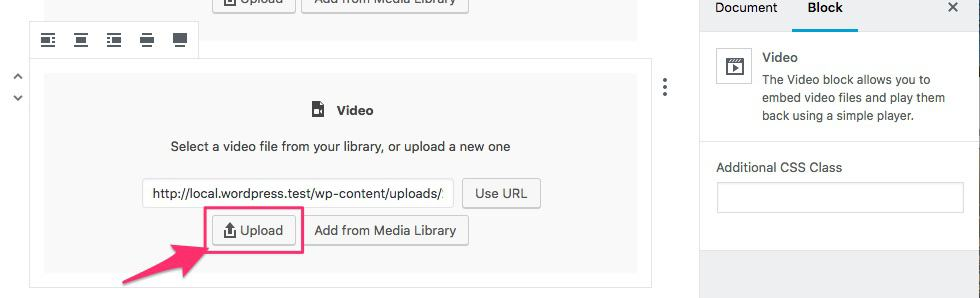 upload button for audio & video files